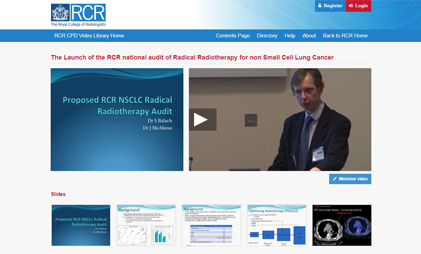 eLEARNING PLATFORM: RCR CPD VIDEO LIBRARY